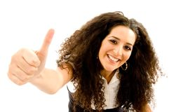 Fashionable woman showing thumbs up Royalty Free Stock Image