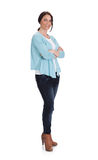 Fashionable Woman Standing Arms Crossed Over White Background Royalty Free Stock Images