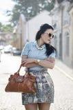 Fashionable woman on the street stock photos