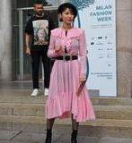 MILAN, Italy: September 22, 2018:Fashionable woman streetstyle outfit. Fashionable woman streetstyle outfit after Philosophy di Lorenzo Serafini fashion show royalty free stock images