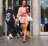 MILAN, Italy: September 22, 2018:Fashionable woman streetstyle outfit. Fashionable woman streetstyle outfit after Philosophy di Lorenzo Serafini fashion show stock images