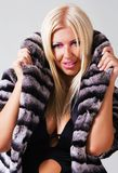 Fashionable woman in a striped fur coat Stock Photo