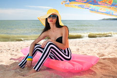 Fashionable woman in stylish swimsuit Royalty Free Stock Photography
