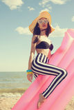 Fashionable woman in stylish swimsuit Royalty Free Stock Photo