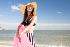 Fashionable woman in stylish swimsuit stock image