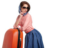 Fashionable woman with a suitcase travel Royalty Free Stock Photo