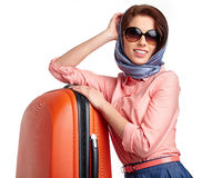 Fashionable woman with a suitcase travel. Elegant woman with a suitcase travel Stock Photo