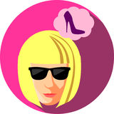 Fashionable woman in sunglasses dreaming about shoes. Flat Style. The girl blonde on a burgundy background Stock Photos
