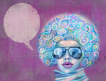 Fashionable woman in sunglasses. Music star. Illustration of woman with the speech bubble. Stylish abstract violet fashion background with woman portrait for Royalty Free Stock Photo