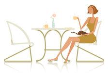 Fashionable woman at table. A stylistic illustration of a fashionable woman reading a book while waiting at a restaurant or cafe table for two.  White background Royalty Free Stock Photography