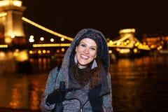 Fashionable woman teeth smile at night. Budapest travel, Hungary Stock Photos