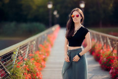 Fashionable Woman in Turkish Style Outfit on The Bridge of Desires Royalty Free Stock Photo