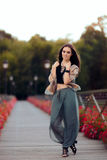 Fashionable Woman in Turkish Style Outfit on The Bridge of Desires Stock Images