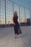 Fashionable woman on urban background royalty free stock image