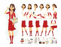 Fashionable woman - vector cartoon people character constructor. Isolated on white background. Smiling pretty girl in red clothes in different poses, hairstyle Royalty Free Stock Photos