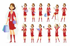 Fashionable woman - vector cartoon people character set. Isolated on white background. Pretty girl wearing red clothes in different situations, with various Royalty Free Stock Photo