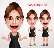 Fashionable Woman Vector Character Wearing Stylish Casual Dress. Good Hairstyle and Makeup for Lifestyle. Vector Illustration Royalty Free Stock Photo