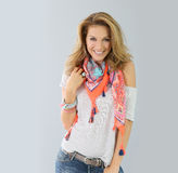 Fashionable woman wearing colourful scarf Royalty Free Stock Photo