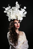 Fashionable Woman Wearing High End Head Piece royalty free stock images