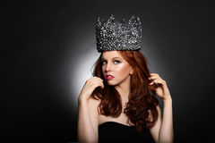 Fashionable Woman Wearing High End Head Piece Royalty Free Stock Photos