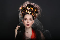 Fashionable Woman Wearing High End Head Piece Stock Photography