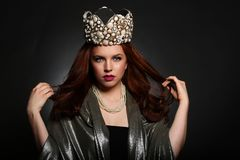 Fashionable Woman Wearing High End Head Piece Stock Photos