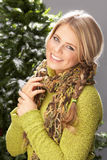 Fashionable Woman Wearing Knitwear In Studio Royalty Free Stock Image