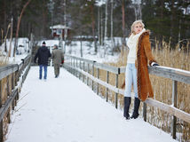 Fashionable woman and winter clothes - rural scene Stock Photos