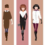 Fashionable woman in winter clothes. Vector illustration. Three beautiful fashionable woman in winter clothes Stock Photo