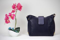 Fashionable women bag. Black lether fashionable women bag and pink flower Stock Photos