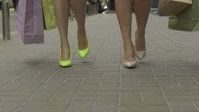 Fashionable women carrying shopping bags in the street stock video footage