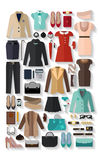 Fashionable women clothes icons flat set Royalty Free Stock Photo