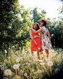 Fashionable women in countryside Stock Photo