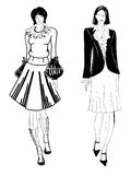Fashionable women illustrations Royalty Free Stock Photo
