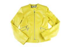 Fashionable women leather jacket, stylish bright color. Isolated on white background Stock Photos