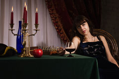 Fashionable women with red wine glass Royalty Free Stock Images
