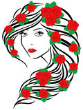 Fashionable women with roses on hair Royalty Free Stock Images
