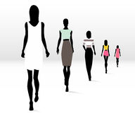 Fashionable women on runway vector illustration