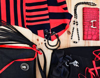 Fashionable women's accessories. Fashionable women's clothing and accessories in red and black tones Stock Photo