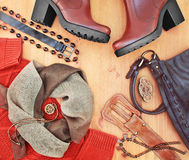 Fashionable women's clothing and accessories. Stock Photos