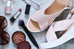 Fashionable, women`s clothing, footwear and accessories. royalty free stock images