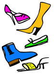 Fashionable women's shoes. Fashionable, colorful shoes and boots optional for women Royalty Free Stock Photos