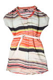 Fashionable women's striped dress with belt Stock Photos