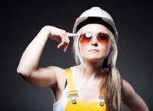 Fashionable young architect woman, construction worker Stock Photography