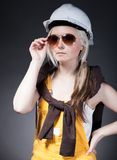 Fashionable young architect woman, construction worker Royalty Free Stock Photography