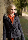 Fashionable young blond outdoors. Stock Photography