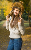 Fashionable young brunette. Royalty Free Stock Image