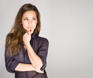 Fashionable young brunette. Royalty Free Stock Photo