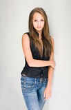 Fashionable young brunette model. Royalty Free Stock Images