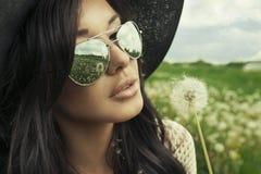 Fashionable young brunette sensual woman Stock Photo